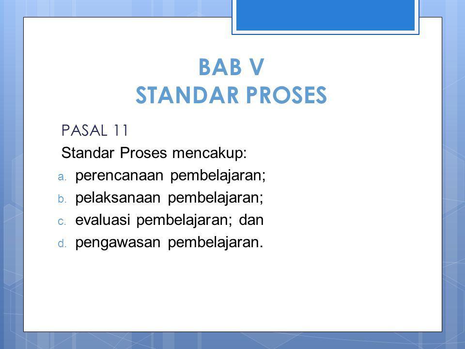 BAB V STANDAR PROSES PASAL 11 Standar Proses mencakup:
