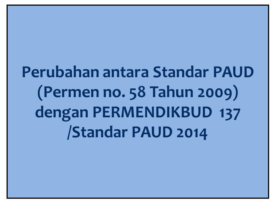 Perubahan antara Standar PAUD (Permen no