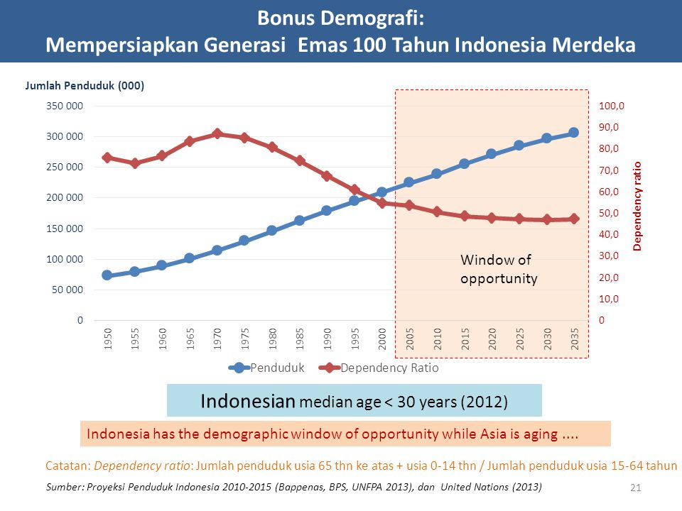 Indonesian median age < 30 years (2012)