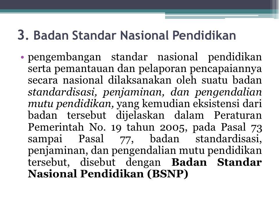 3. Badan Standar Nasional Pendidikan