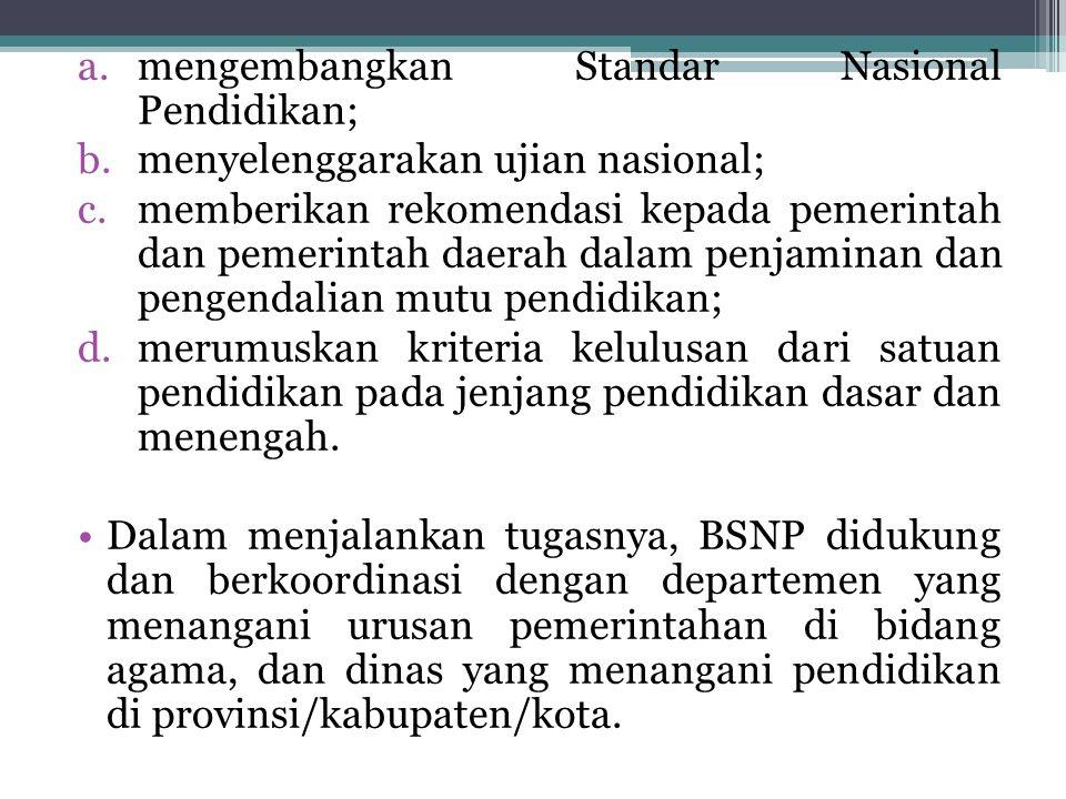 mengembangkan Standar Nasional Pendidikan;