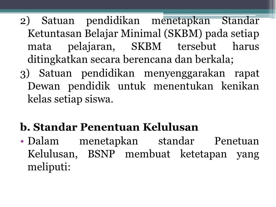 2) Satuan pendidikan menetapkan Standar Ketuntasan Belajar Minimal (SKBM) pada setiap mata pelajaran, SKBM tersebut harus ditingkatkan secara berencana dan berkala;