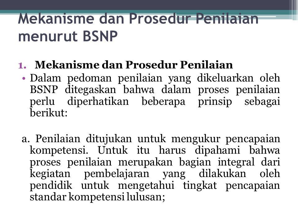 Mekanisme dan Prosedur Penilaian menurut BSNP