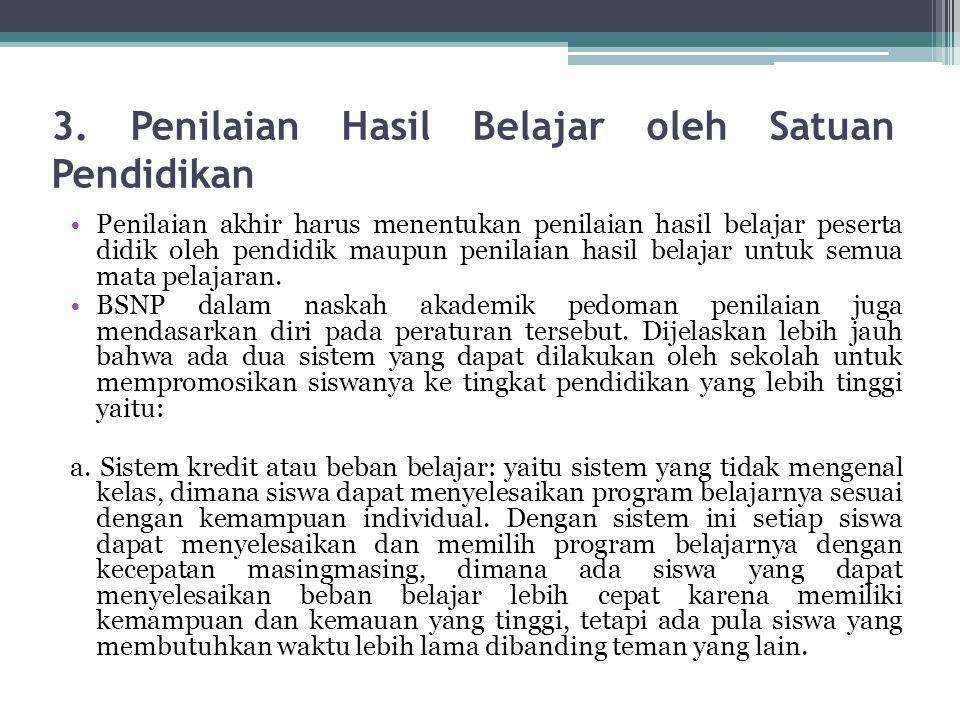 3. Penilaian Hasil Belajar oleh Satuan Pendidikan