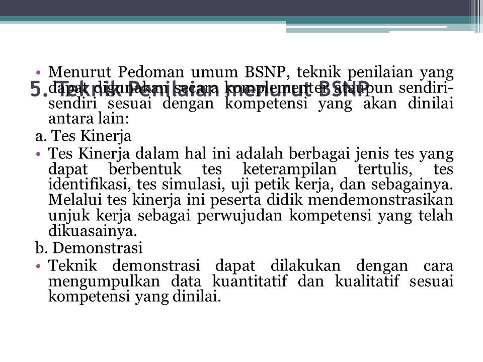 5. Teknik Penilaian menurut BSNP
