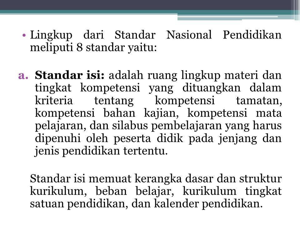 Lingkup dari Standar Nasional Pendidikan meliputi 8 standar yaitu: