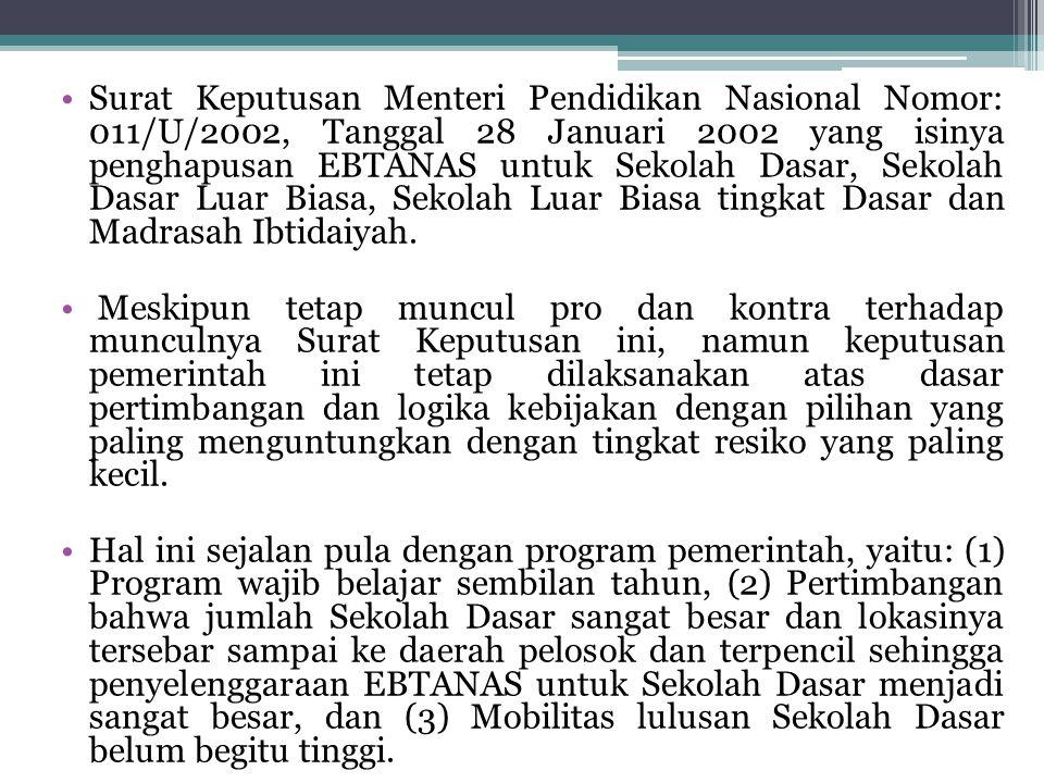 Surat Keputusan Menteri Pendidikan Nasional Nomor: 011/U/2002, Tanggal 28 Januari 2002 yang isinya penghapusan EBTANAS untuk Sekolah Dasar, Sekolah Dasar Luar Biasa, Sekolah Luar Biasa tingkat Dasar dan Madrasah Ibtidaiyah.