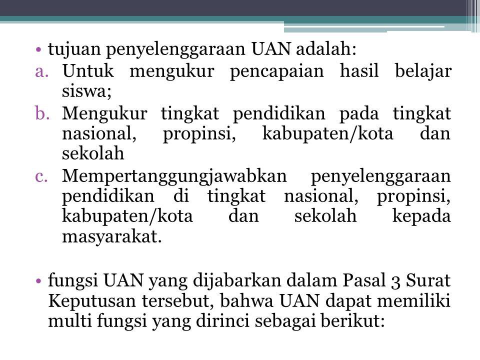 tujuan penyelenggaraan UAN adalah: