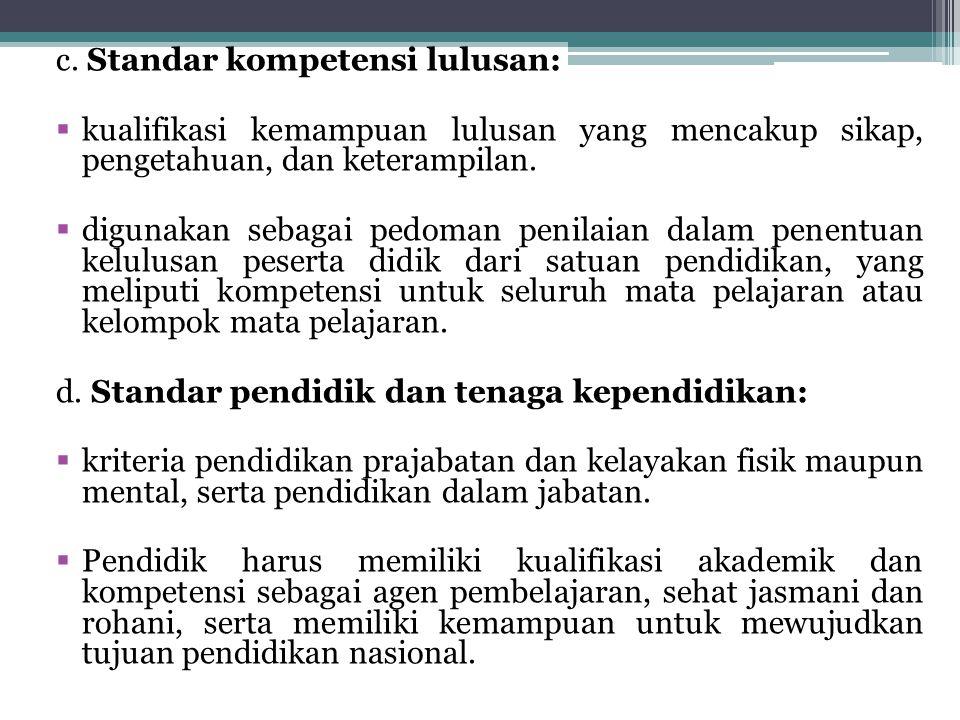 c. Standar kompetensi lulusan: