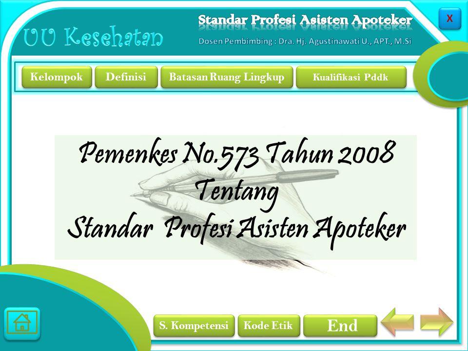 Pemenkes No.573 Tahun 2008 Tentang Standar Profesi Asisten Apoteker
