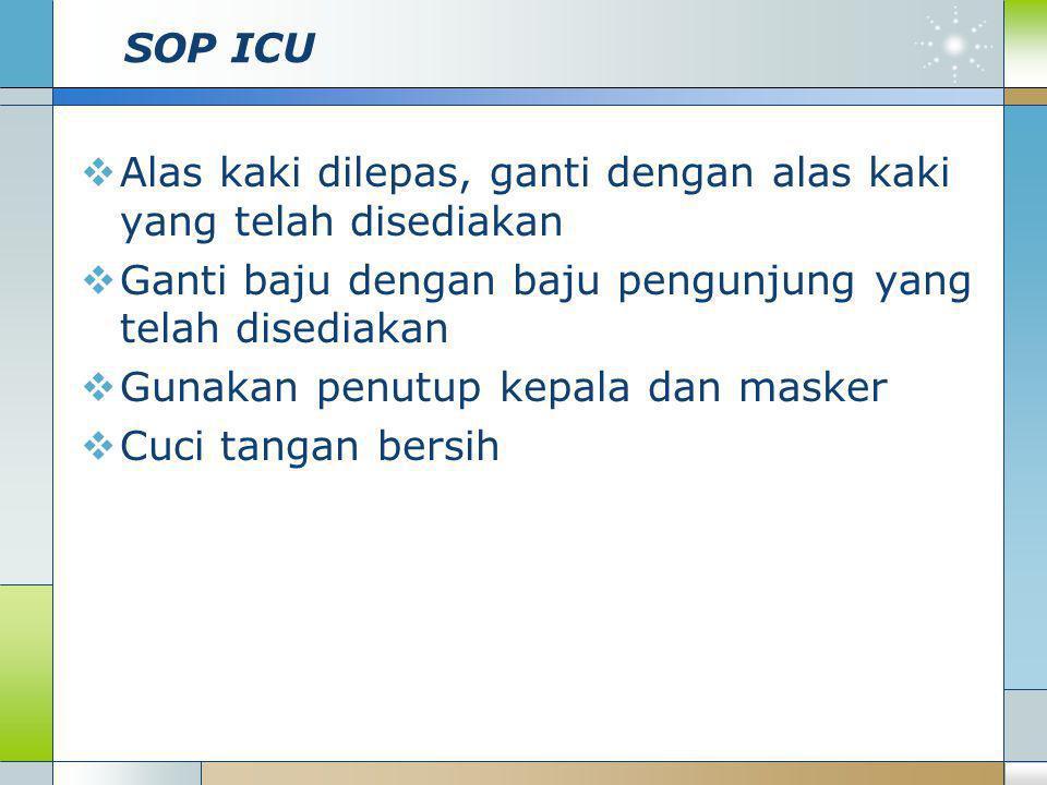 SOP ICU Alas kaki dilepas, ganti dengan alas kaki yang telah disediakan. Ganti baju dengan baju pengunjung yang telah disediakan.