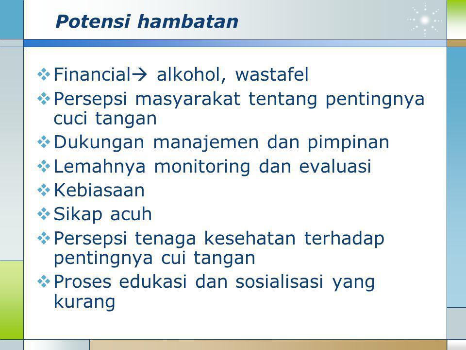 Potensi hambatan Financial alkohol, wastafel. Persepsi masyarakat tentang pentingnya cuci tangan.