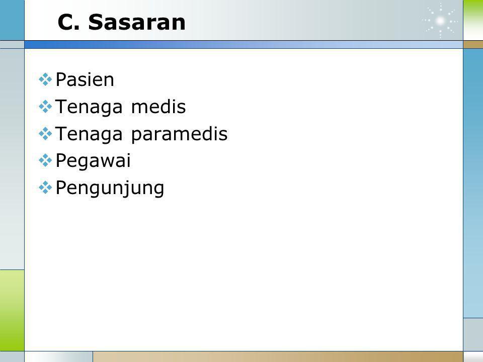 C. Sasaran Pasien Tenaga medis Tenaga paramedis Pegawai Pengunjung
