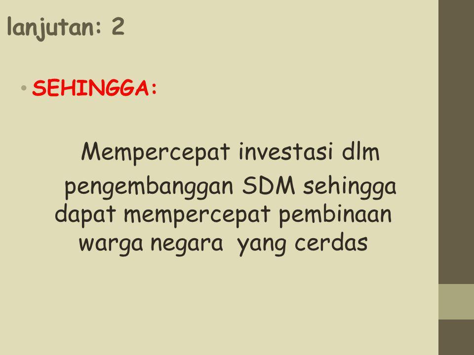 Mempercepat investasi dlm