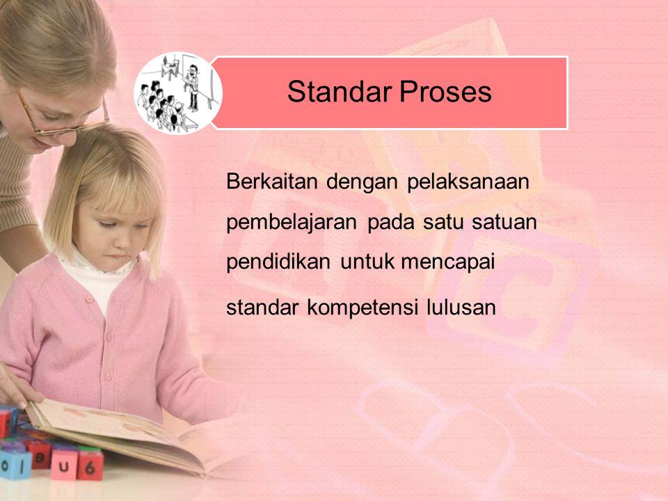 Standar Proses Berkaitan dengan pelaksanaan pembelajaran pada satu satuan pendidikan untuk mencapai.