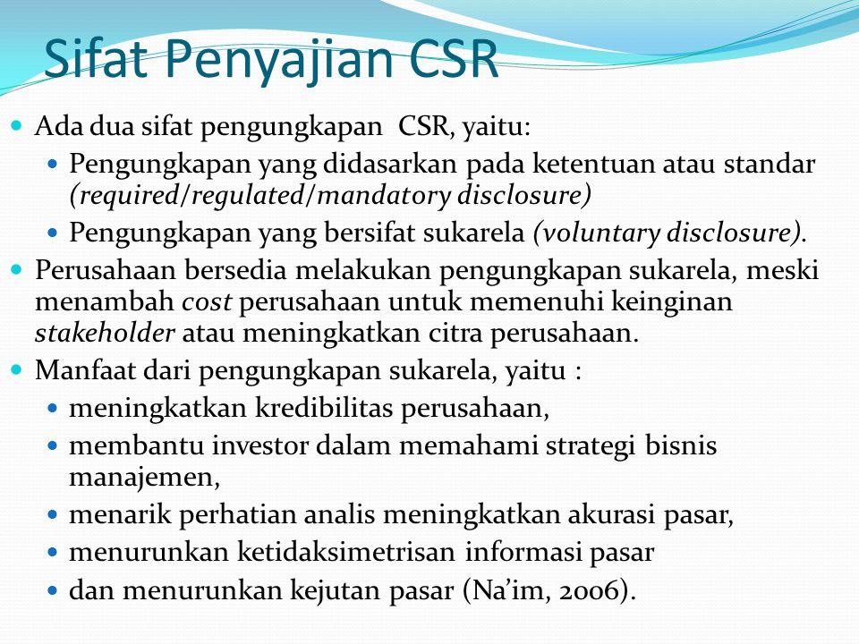 Sifat Penyajian CSR Ada dua sifat pengungkapan CSR, yaitu: