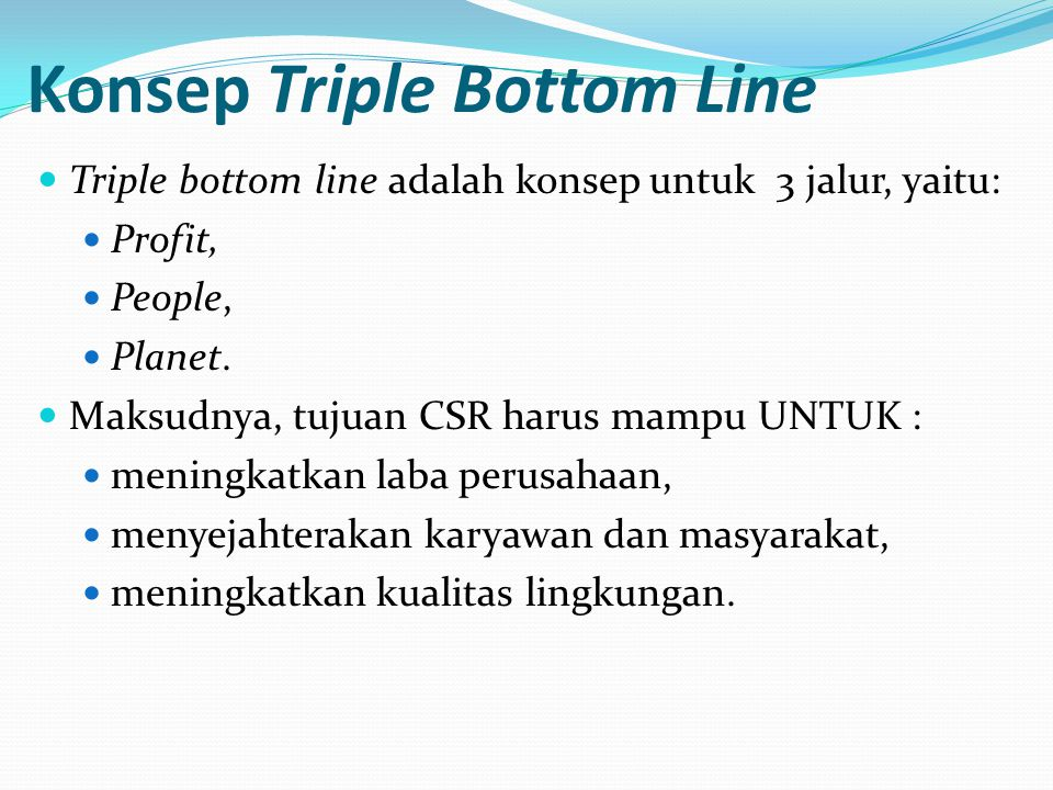 Konsep Triple Bottom Line