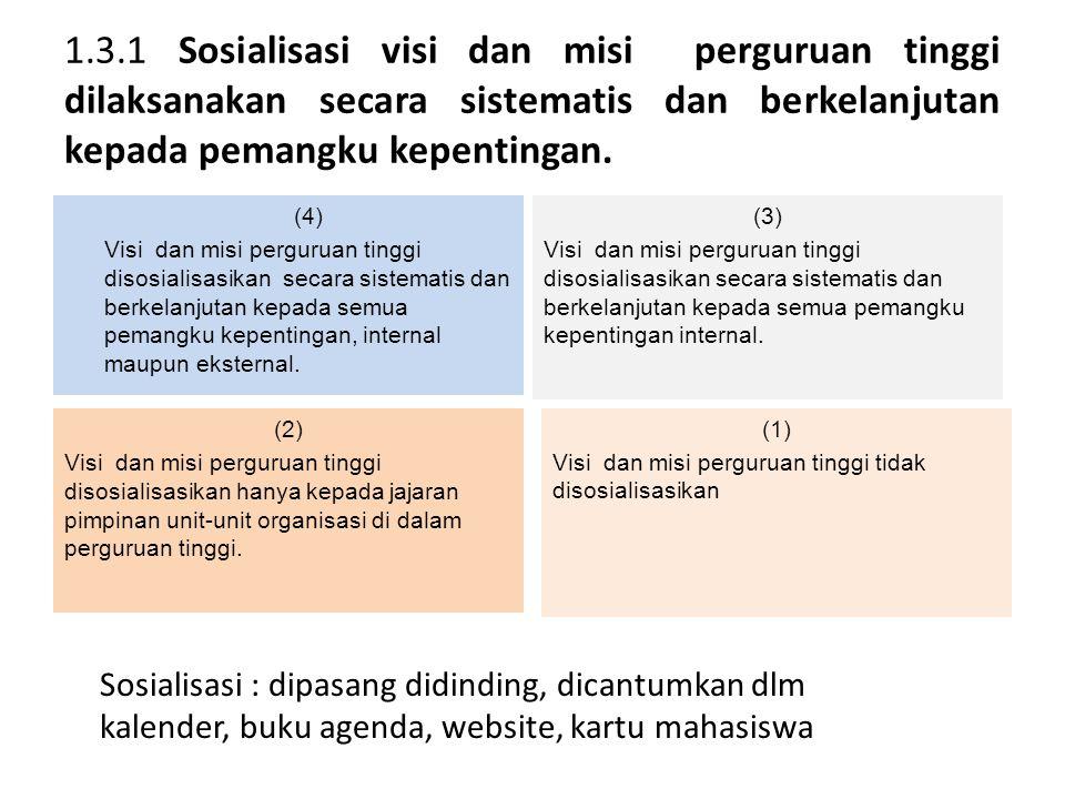 1.3.1 Sosialisasi visi dan misi perguruan tinggi dilaksanakan secara sistematis dan berkelanjutan kepada pemangku kepentingan.