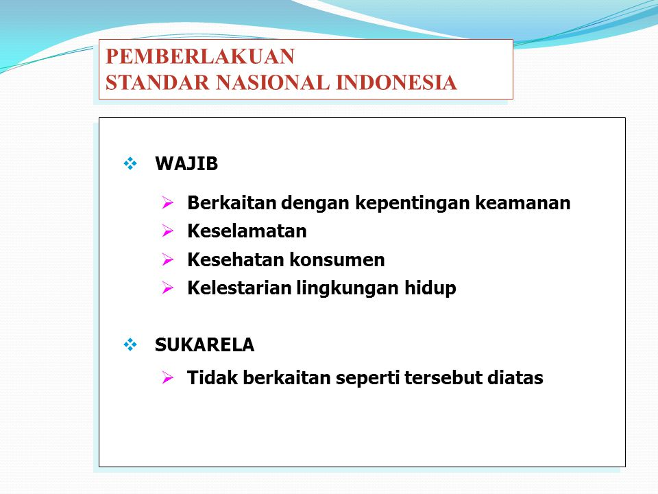 STANDAR NASIONAL INDONESIA