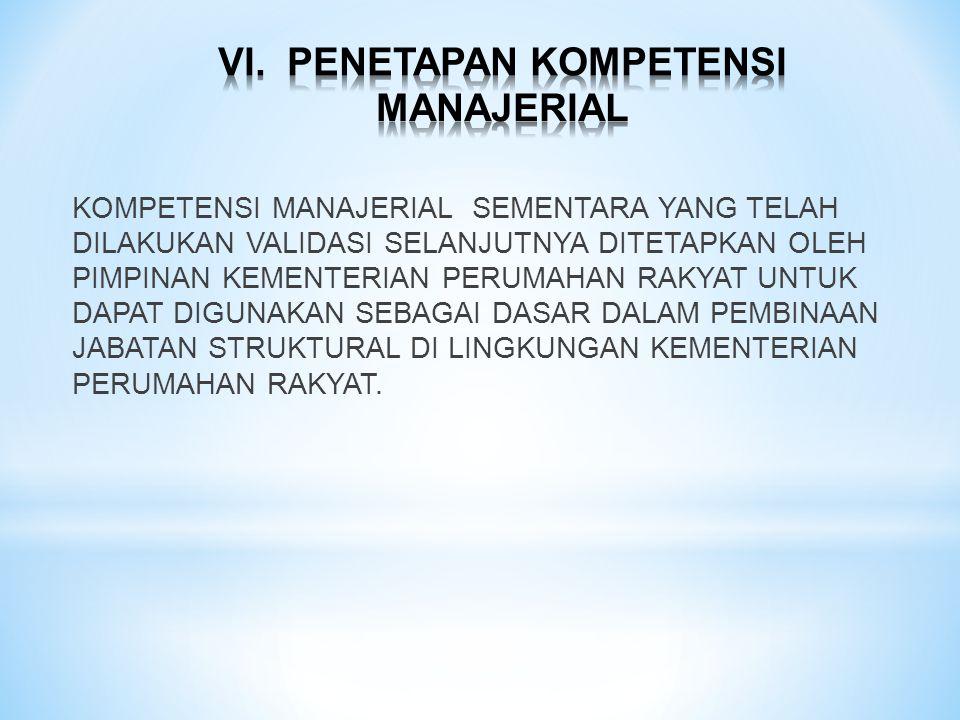 VI. PENETAPAN KOMPETENSI MANAJERIAL