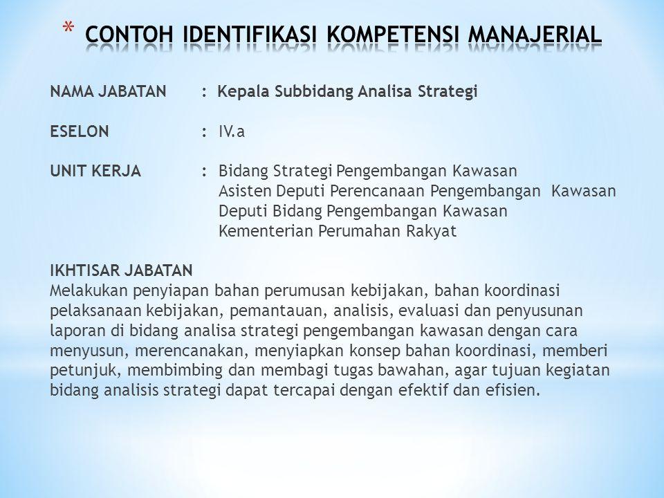CONTOH IDENTIFIKASI KOMPETENSI MANAJERIAL