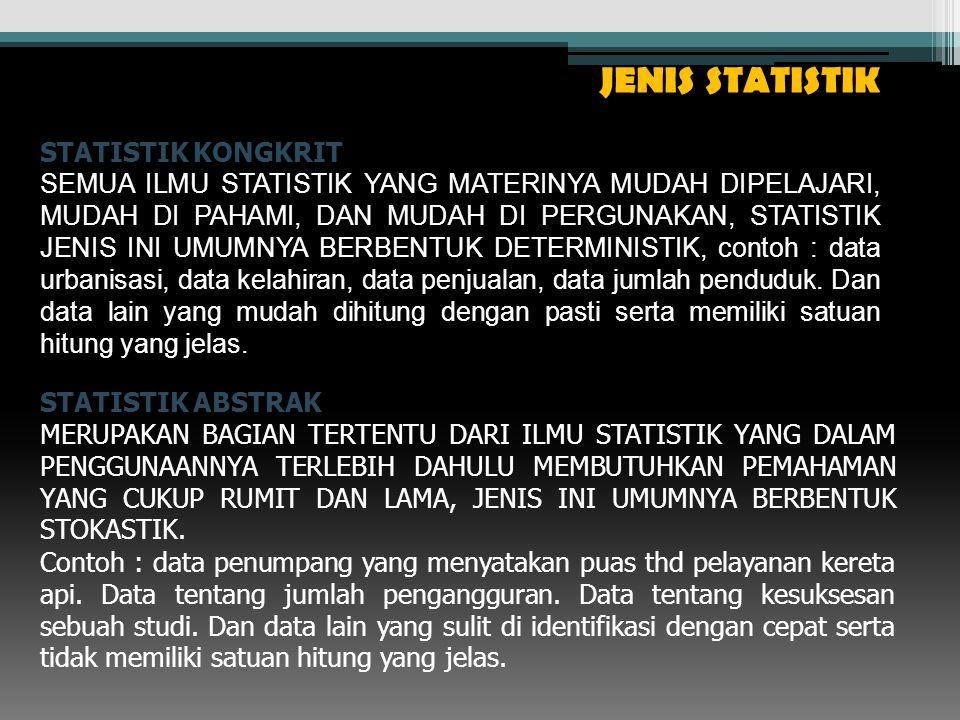 JENIS STATISTIK STATISTIK KONGKRIT