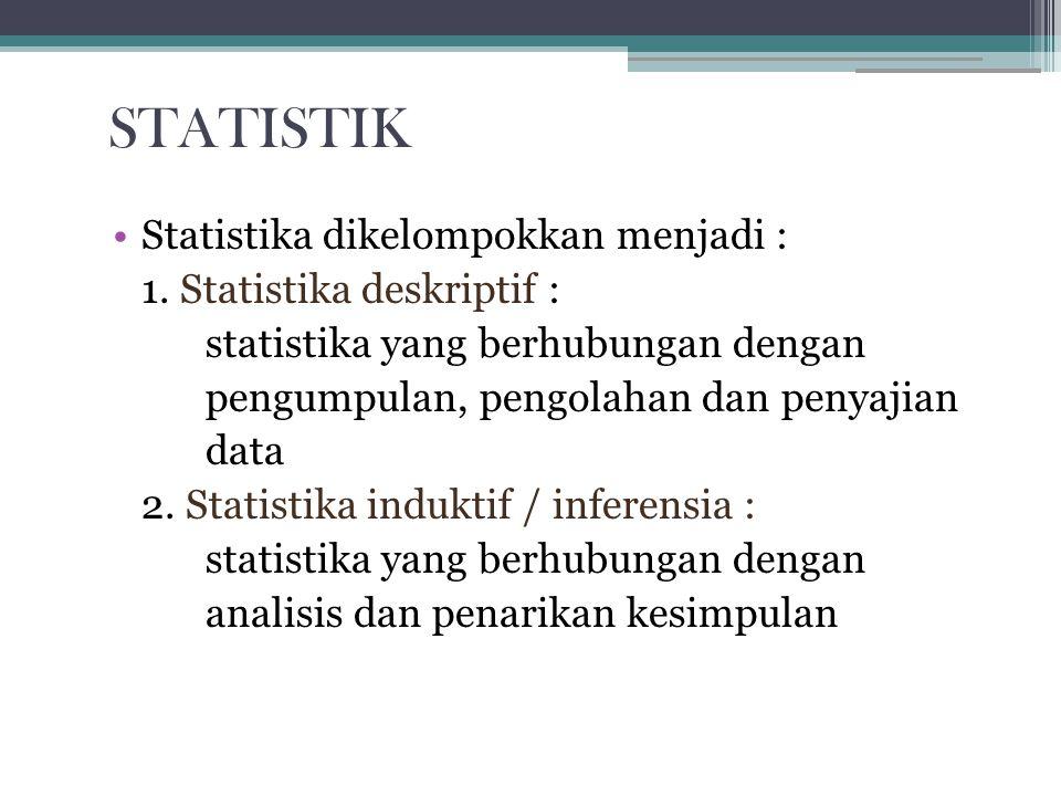 STATISTIK Statistika dikelompokkan menjadi :