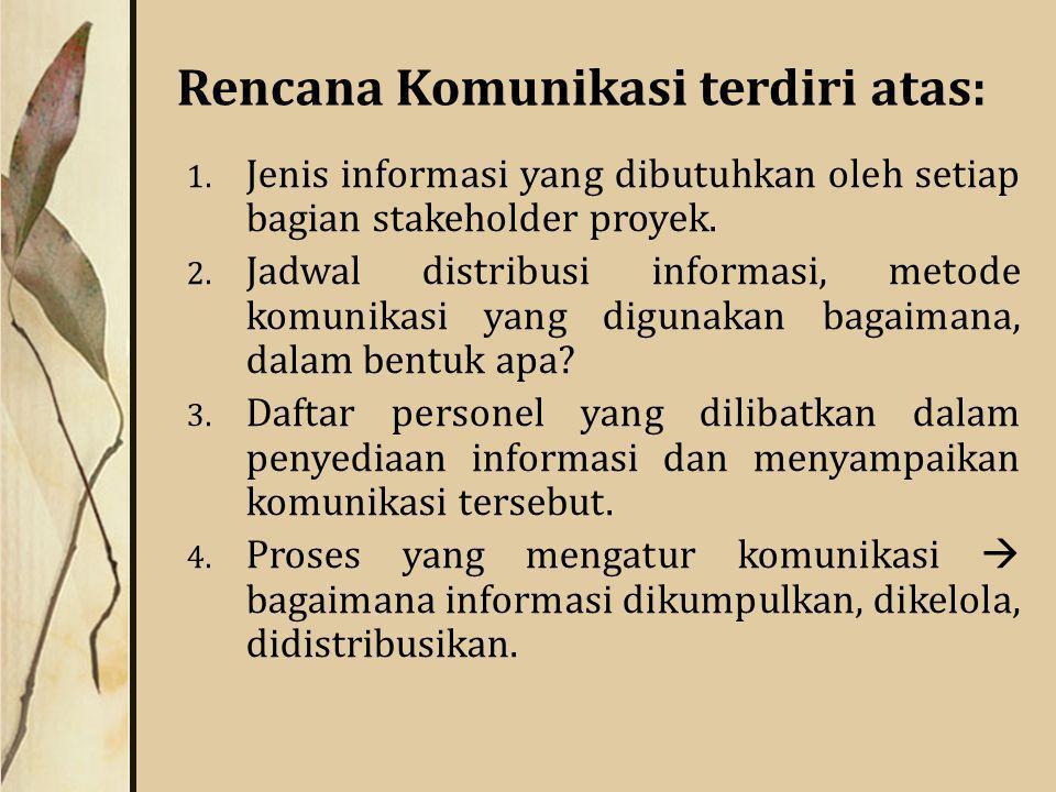 Rencana Komunikasi terdiri atas: