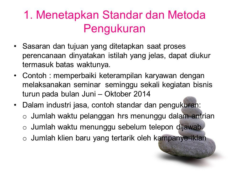 1. Menetapkan Standar dan Metoda Pengukuran