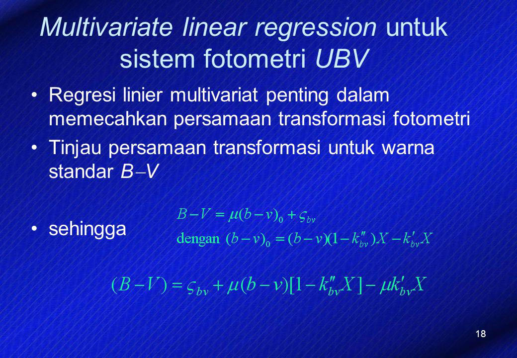 Multivariate linear regression untuk sistem fotometri UBV