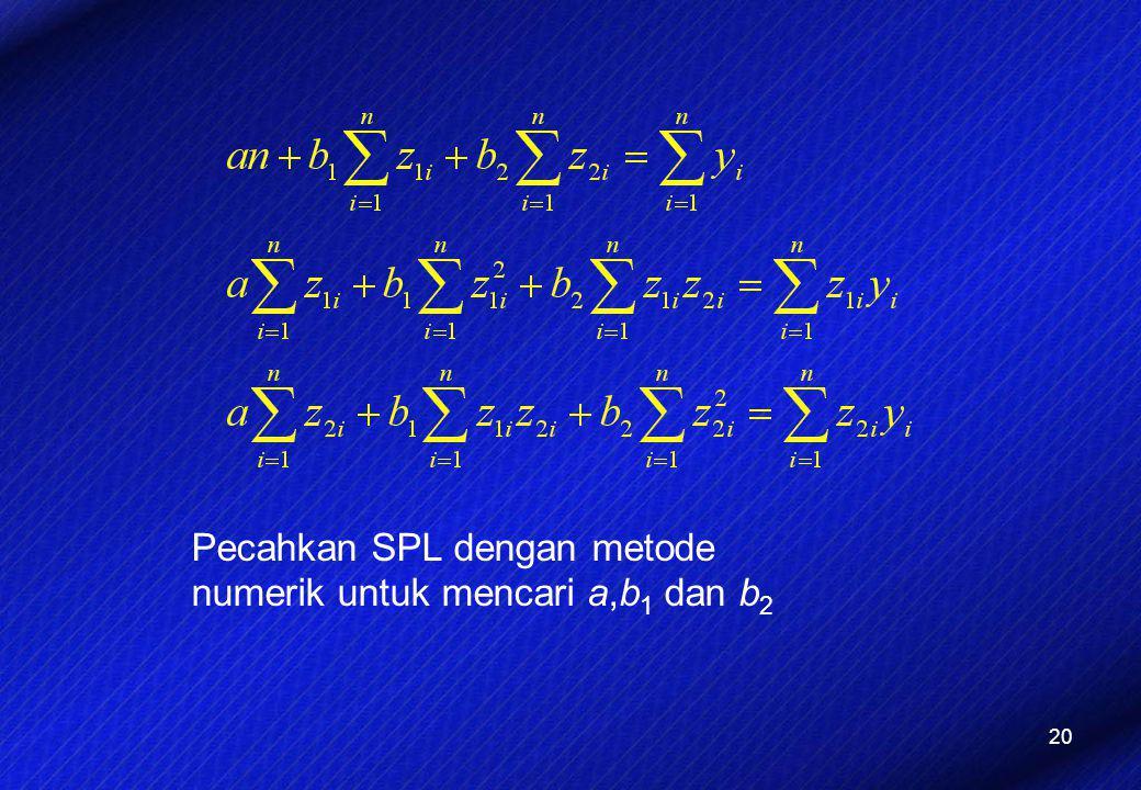 Pecahkan SPL dengan metode numerik untuk mencari a,b1 dan b2