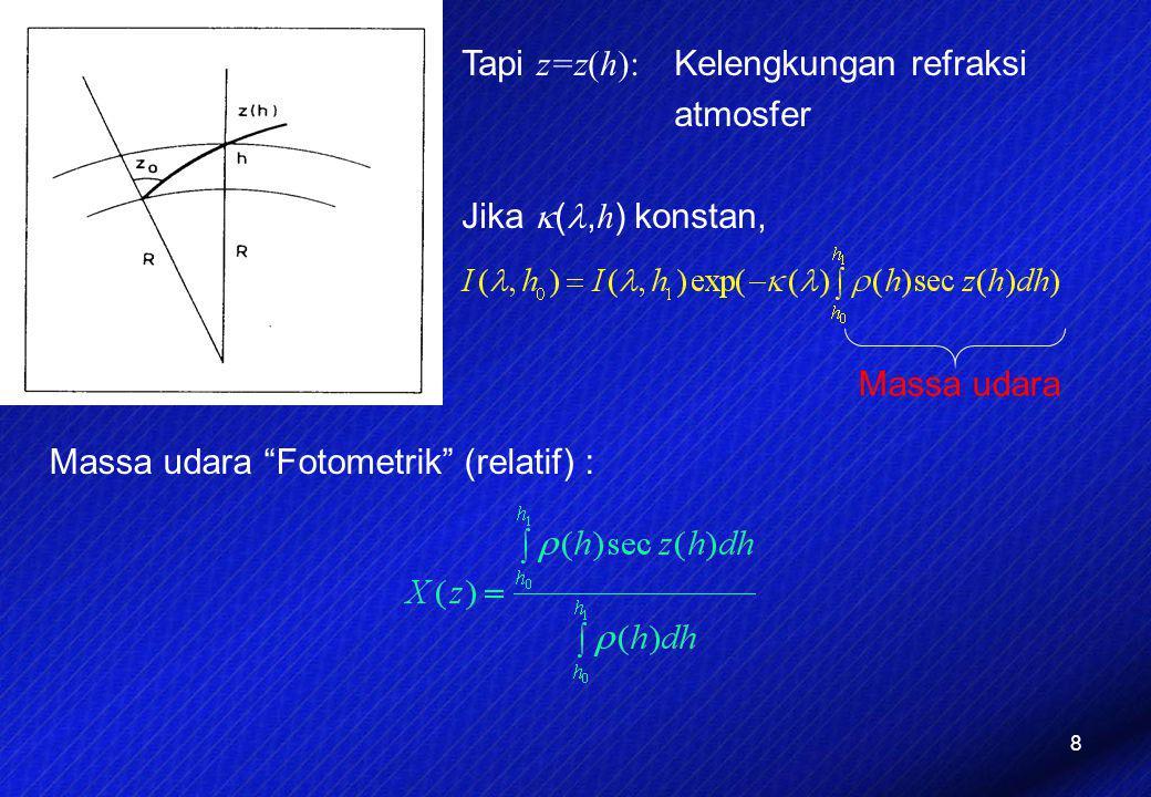 Tapi z=z(h): Kelengkungan refraksi atmosfer Jika (,h) konstan,