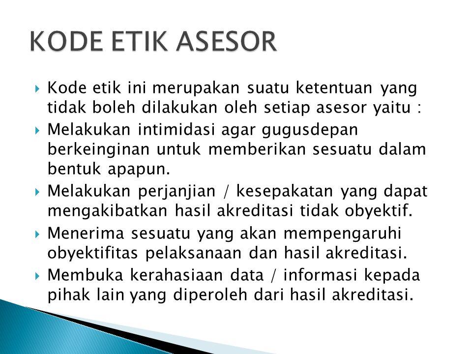 KODE ETIK ASESOR Kode etik ini merupakan suatu ketentuan yang tidak boleh dilakukan oleh setiap asesor yaitu :