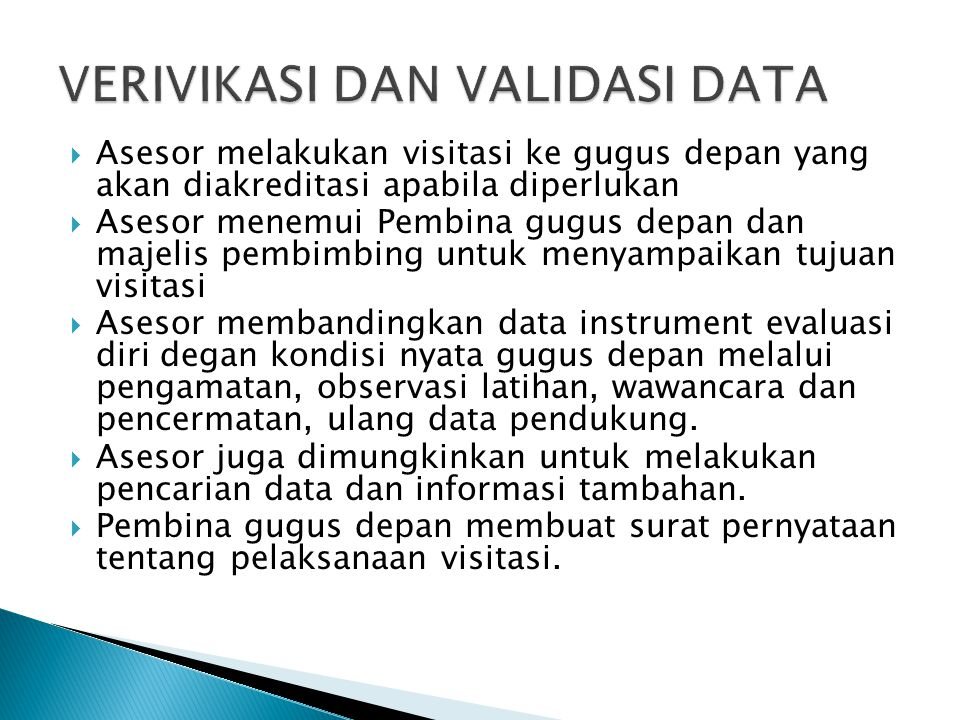 VERIVIKASI DAN VALIDASI DATA