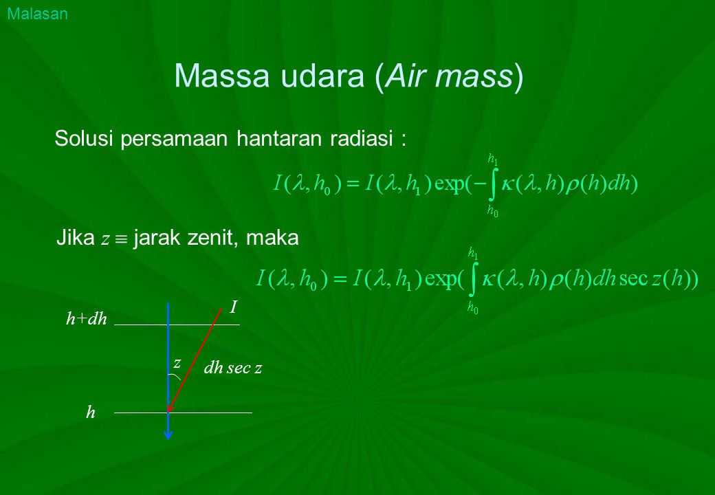 Massa udara (Air mass) Solusi persamaan hantaran radiasi :