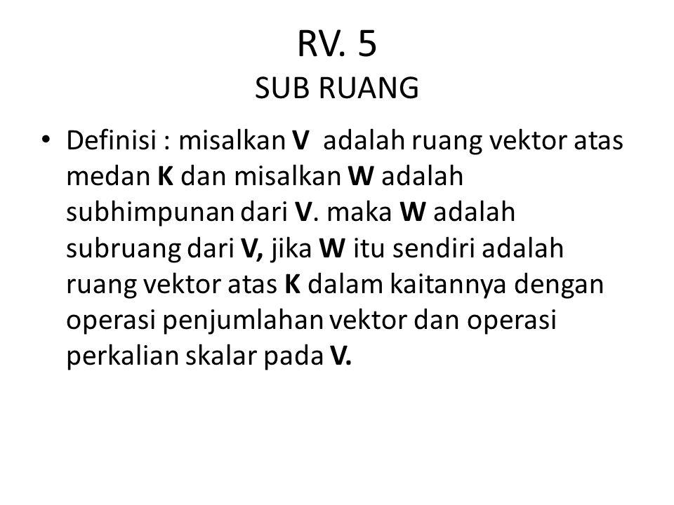 RV. 5 SUB RUANG