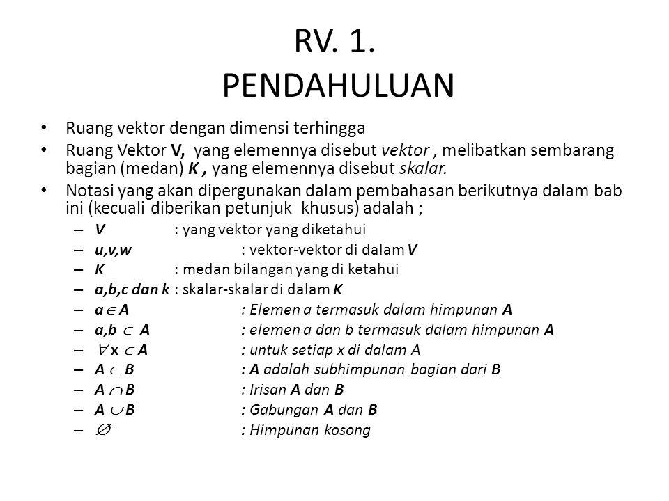 RV. 1. PENDAHULUAN Ruang vektor dengan dimensi terhingga