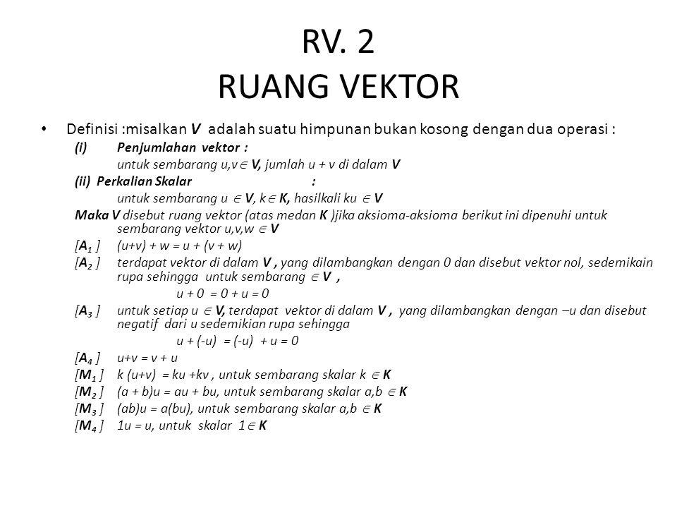 RV. 2 RUANG VEKTOR Definisi :misalkan V adalah suatu himpunan bukan kosong dengan dua operasi : Penjumlahan vektor :