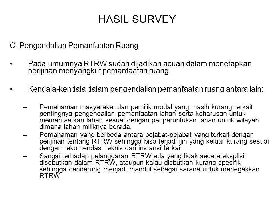 HASIL SURVEY C. Pengendalian Pemanfaatan Ruang