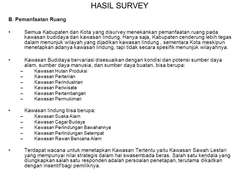 HASIL SURVEY B. Pemanfaatan Ruang