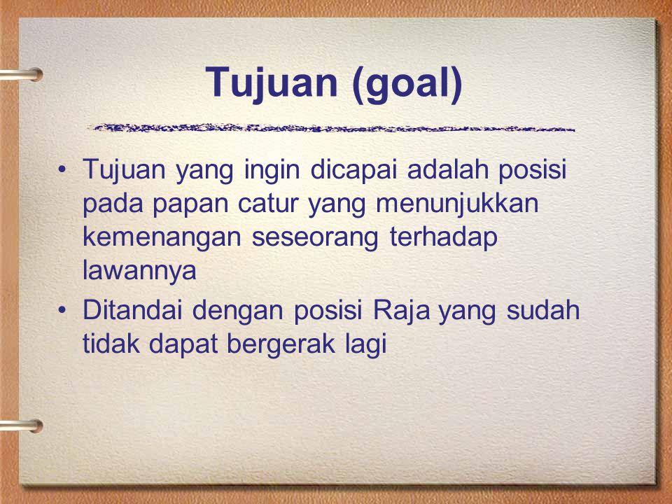 Tujuan (goal) Tujuan yang ingin dicapai adalah posisi pada papan catur yang menunjukkan kemenangan seseorang terhadap lawannya.