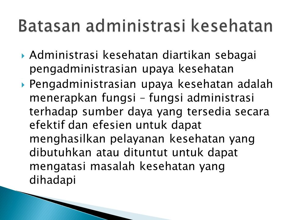Batasan administrasi kesehatan