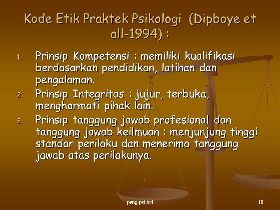 Kode Etik Praktek Psikologi (Dipboye et all-1994) :