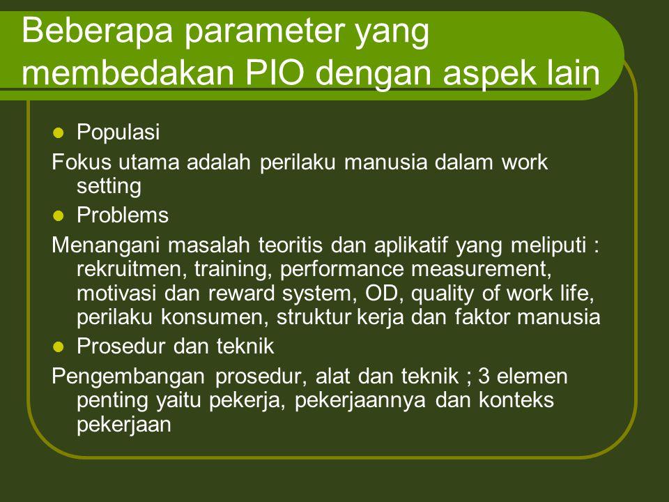 Beberapa parameter yang membedakan PIO dengan aspek lain