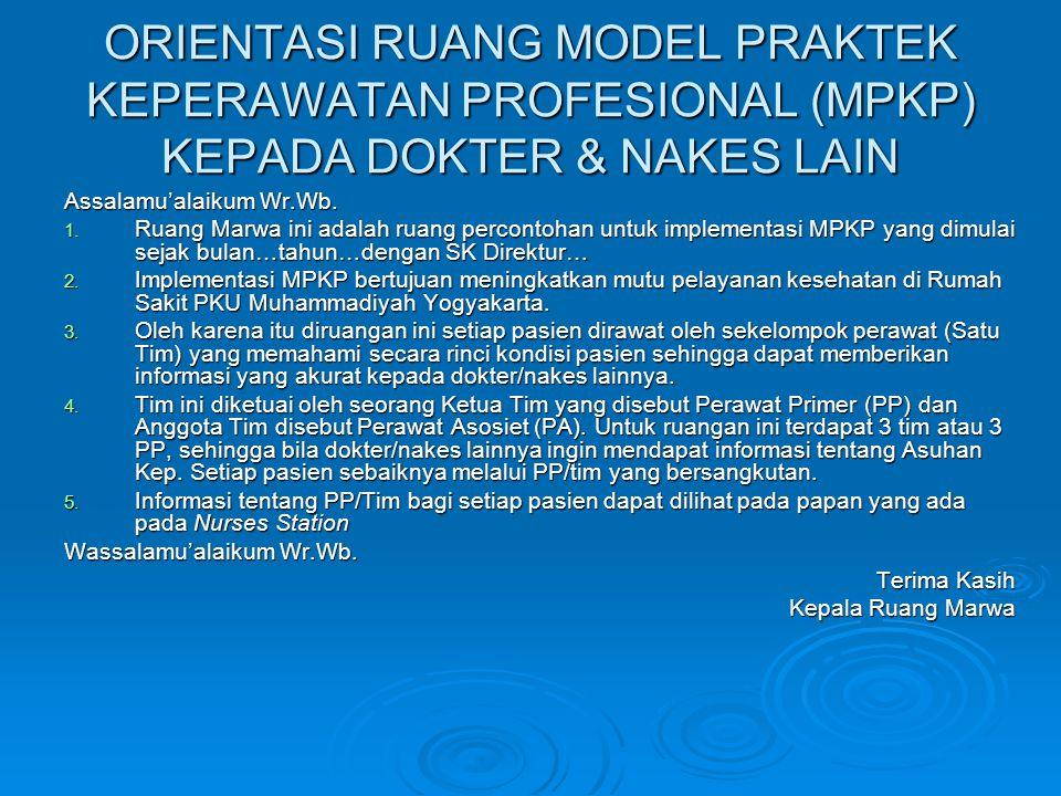 ORIENTASI RUANG MODEL PRAKTEK KEPERAWATAN PROFESIONAL (MPKP) KEPADA DOKTER & NAKES LAIN