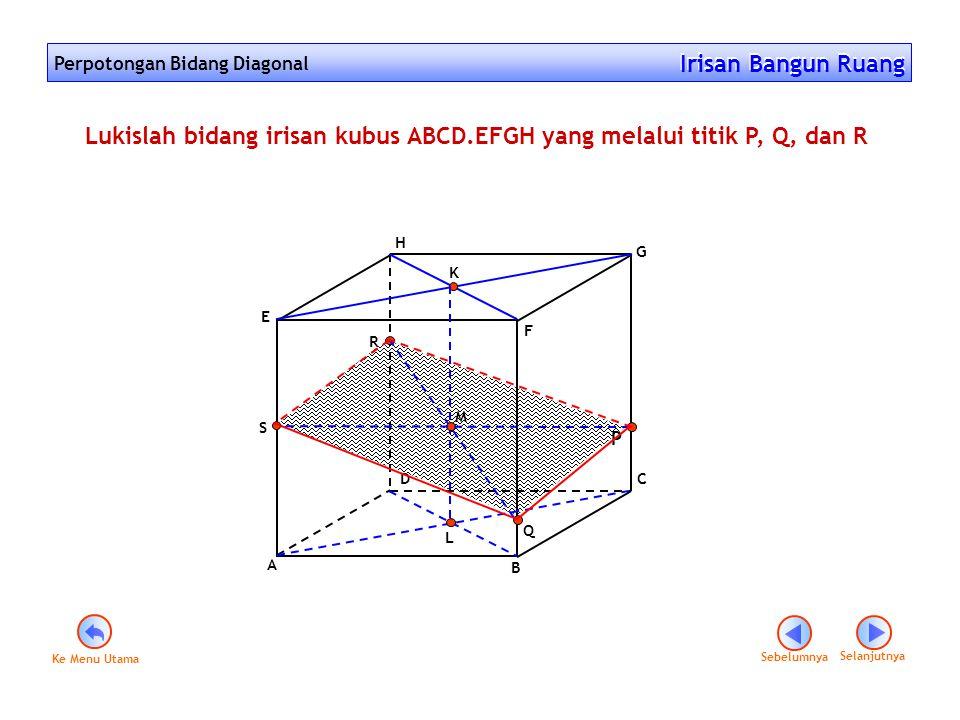 Lukislah bidang irisan kubus ABCD.EFGH yang melalui titik P, Q, dan R