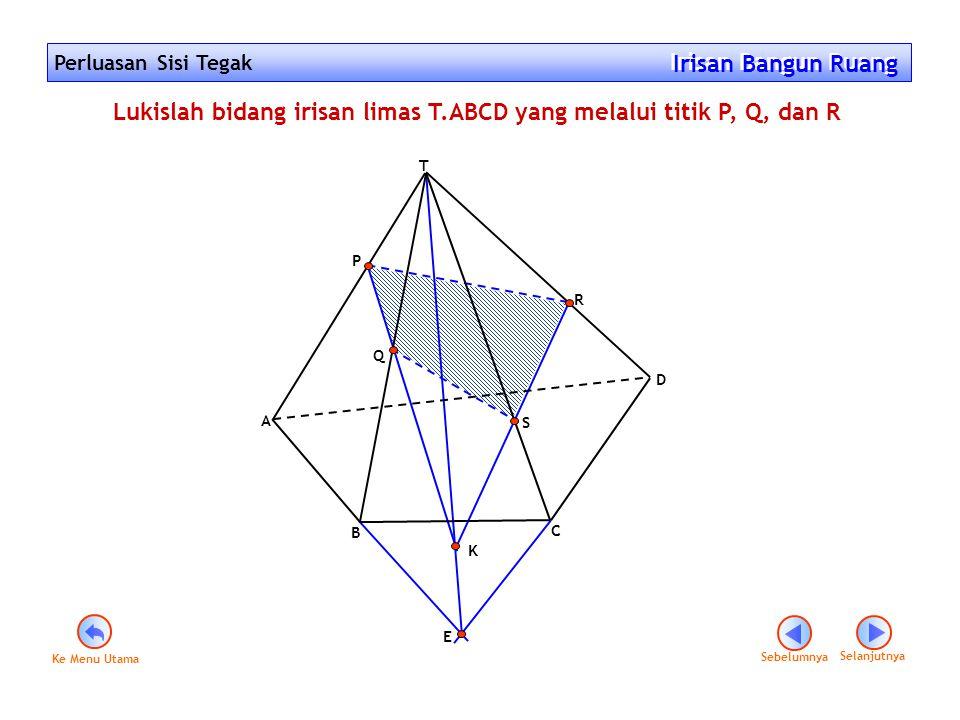 Lukislah bidang irisan limas T.ABCD yang melalui titik P, Q, dan R