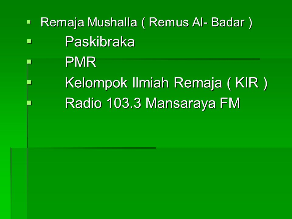 Kelompok Ilmiah Remaja ( KIR ) Radio 103.3 Mansaraya FM