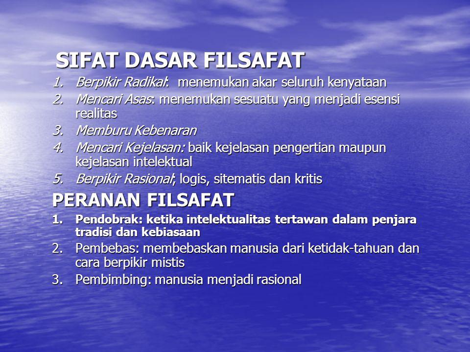 PERANAN FILSAFAT SIFAT DASAR FILSAFAT