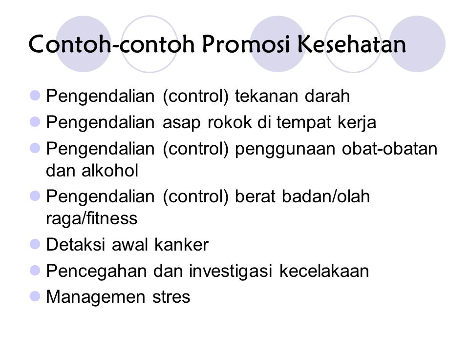 Contoh-contoh Promosi Kesehatan